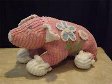 Cuddly Chenille Stuffed Pink Pig w Butterfly Flower Tassels Embroidered Eyes