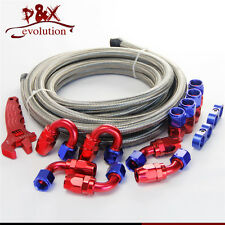 AN8 Stainless Steel Braided Hose line+Fitting Adaptor+Wrench Tools Spanner Kit
