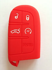 Red Silicone Key Fob Case Cover Fob Keyless Remote Holder fit for JEEP DODGE