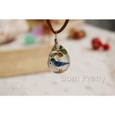 Double-Faced Glass Gemstone Necklace Blue Bird Necklace