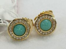 Ippolita 18K Lollipop Diamond Mini Stud Earrings in Turquoise $995 - NEW - Rare!