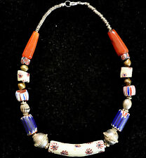 Antique Venetian Glass-Mosaic-Chevron Beads And Indian Carnelian Beads Necklace