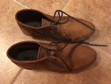 WOMEN'S MINNETONKA WEDGE MOCCASINS BROWN SUEDE LEATHER Size 8