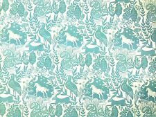 STUDIO G BY CLARKE AND CLARKE WESTONBIRT BLUE BIRD HORSE COTTON CURTAIN FABRIC