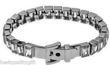 MICHAEL KORS SILVER TONE RECTANGLE LINKS+CRYSTALS+BELT TENNIS BRACELET MKJ1755