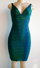 $1290.00 NWT Herve Leger by Maxazria Metallic Bandage Dress Sz L