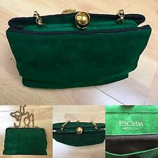 ESCADA- Vintage Greeen Suede Gold Chain Shoudler Bag -