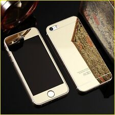 Apple iPhone 5S - Gold Tempered Glass - Mirror Shiny Effect - Front & Back Side
