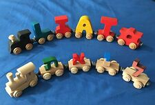 2 Liat Name Wooden Toy Trains Wood English & Hebrew Israel Maple Letters