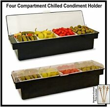 Roll Top Condiment Holder BLACK w/ Clear Lid with Four 1.5 Pint Standard Inserts