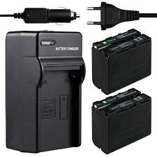 Charger + 2X 8600mAh Battery for SONY NP-F930 F950 F960 F970 DSR-PD19 Camera Car