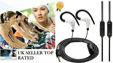 BLACK OVER EAR CLIP HEADPHONE HOOK SPORTS GYM JOGGING RUNNING EARPHONE WITH MIC