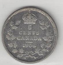 CANADA,   1906,  5 CENTS,  SILVER,  KM#13,  FINE