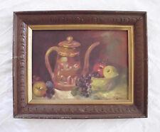 Vintage Painting Still Life Pitcher Fruit Table Signed 1972 Framed Original