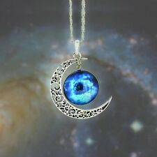 Silver Color Moon Galaxy Fashion Pendant Necklace, Gifts for Her, Gift Idea GL3