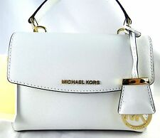 MICHAEL MICHAEL KORS AVA XS WHITE LEATHER TOP HANDLE SATCHEL BAG