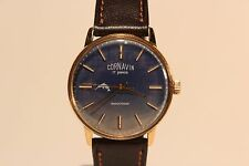 "VINTAGE USSR RUSSIAN GOLD PLATED MEN'S MECHANICAL WATCH""CORNAVIN""/NICE BLUE DIAL"