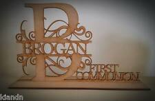 """Free standing Personalised """"FIRST COMMUNION"""" MDF blank craft Plaque/sign"""