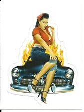 CUSTOM MERCURY AND PIN UP GIRL  Sticker Decal