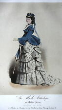 GRAVURE ANCIENNE MODE 19e - MODE ARTISTIQUE G. JANET - ROBE FOULARD MALLE INDES