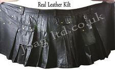 100% GENUINE LEATHER MENS SOFT KILT WITH CARGO POCKETS PLEATED KILT