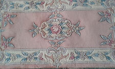Brand NEW 100% Wool Chinese Rug Runner  4'x2' salmon/pink  Floral  Authentic