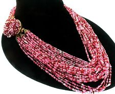 Vtg 1967 CHRISTIAN DIOR Germany Cranberry Pink Glass Seed Bead Torsade NECKLACE