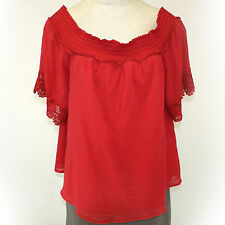 NEW Lane Bryant Plus Size Cherry Red Top Off Shoulders Lace Blouse size 26/28