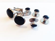 NEW Black Silver Tuxedo Cufflinks Formal Shirt Studs Set Tux Cuff Links USA