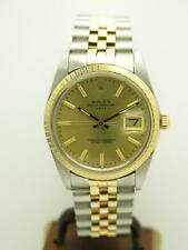 Estate ~ Rolex Date SS & 18k Gold Mens 34mm w/ Champagne Dial 15053 ~ No Reserve