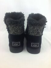 UGG MINI BAILEY BUTTON FANCY WOMEN'S SHEEPSKIN SWAROVSKI BOOTS BLACK 7 US/38 EUR