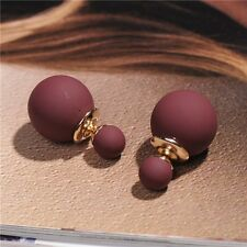 Women Fashion Candy Color Pearl Beads Double Sided Earring Two Ball Earring Stud