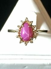 STAR RUBY DIAMOND 14K YELLOW GOLD RING SIZE 6 PEAR CUT CLUSTER COCKTAIL #7