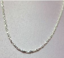 "24"" STERLING SILVER PLATED 1mm SPARKLING TWISTED COBRA COMFORT CHAIN NECKLACE"
