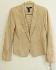 NWT DKNY Women's Size 8 Cotton Blend Metallic Nude 1-Button Blazer $ 295 Retail