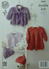 KNITTING PATTERN Baby Jacket, Smocked Dress, Waistcoat & Hat Cuddles DK 4230