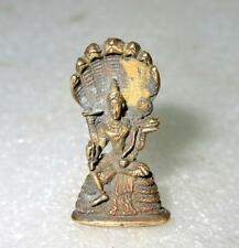 Antique Old Vary Rare Miniature Brass Statue Of Hindu God Vishnu With Sheshnaag