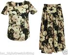 K&D LONDON Womens Ladies Floral Jersey Smart Casual Summer Top or Midi Skirt