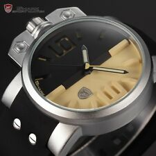 Shark Stylish Sport Men's Beige Black Military Silicone Quartz Wrist Dress Watch