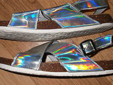 Womens size 5 sandal shoes silver holographic straps F&F