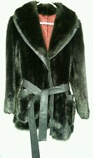 Women's Fur Coat with Leather Trim and Belt Size Small Black Brown