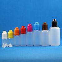 Lot 100 Pcs 3-50ml Plastic Dropper Squeezable Bottles Child Proof Safe White Cap
