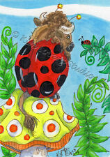 Buffalo Lady Bug sitting Mushroom ACEO EBSQ Loberg Fantasy Mini Art bison Ferns