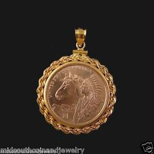 Coin Jewelry Pendant 2012 SACAGAWEA HORSE Dollar Coin 14K Gold Filled Rope Bezel