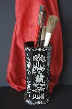 Old Chinese Lacquered Inlaid Wooden Bitong / Scholar Brush Pot
