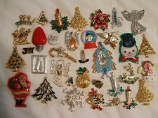 Vintage  Christmas   Pin / Brooch  Lot  -  35  Pins  -  Some Signed