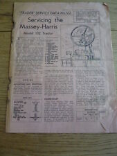 MASSEY HARRIS 102 TRACTOR SERVICING GUIDE Brochure jm