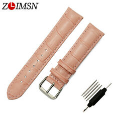 Band Watch Strap Pink Womens Croco Genuine Leather Wrist Belt Silver Buckle 19mm