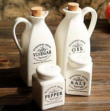 New Kitchen Salt Pepper Shaker Vinegar Oil Pot Jar Container Set White Ceramic