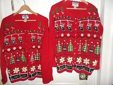 His Hers Matching lot Set 2 Christmas Sweaters sz Plus 1X and XL crochet trim